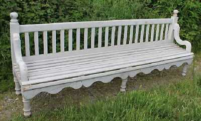 1850's Lovely Large Painted Railway Bench with decorative carved frame.