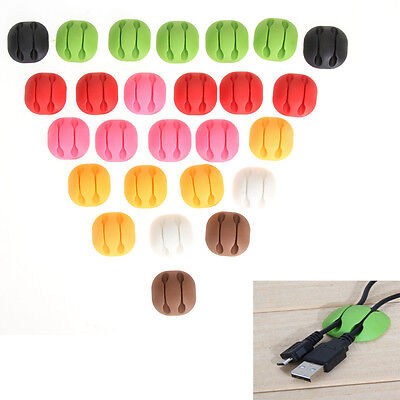 25x Self-Adhesive Cable Clips Desk Organiser Management Wire Drop Cord Ties Tabs