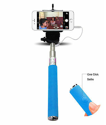 Monopod Selfie Stick Telescopic& Built-in Bluetooth Wireless Remote Phone Holder