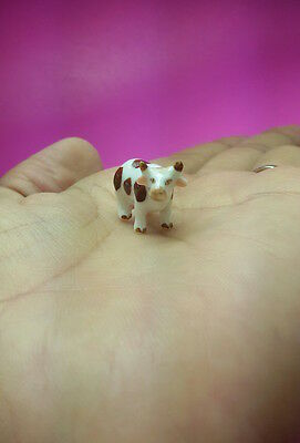 Mini Cow Miniature Dollhouse Ceramic Figurine Farm Animal Collectible Handmade
