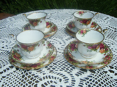 4 x Royal Albert Old Country Roses Bone China Trios-Cup/Saucer/Side Plate -Lot 1