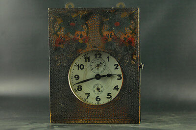 Excellent Junghans German Working Alarm Clock Pyrography Wooden Box Antique Vtg