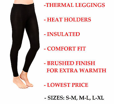 Ladies Thermal Leggings Black Footless Womens Heat Trapper Tight Warm Winter New