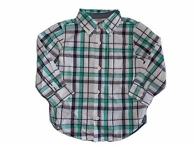 NWT Boy's Gymboree Picture Day plaid green white pink long sleeve shirt ~ 2T