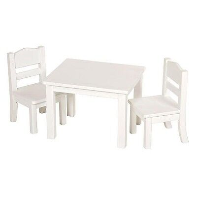 Guidecraft White Table and Chair Set with Doll
