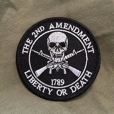 The 2nd Amendment Liberty or Death Skull with Crossed Rifles Round Patch