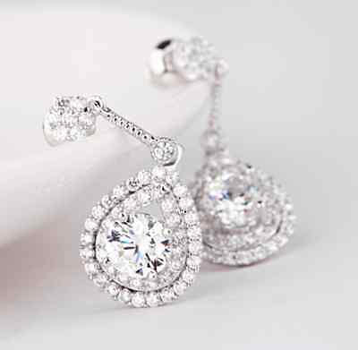 Sparkly Cubic Zirconia Bridal earring Party drop CZ Cubic Wedding dangle Cluster