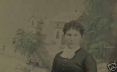 Victorian Antique Crosseyed Beauty Hudson Valley Styl Green Tinted Tintype Photo