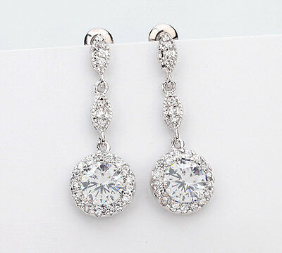 Sparkly Cubic Zirconia Bridal Earrings Party drop CZ Wedding dangle Cluster