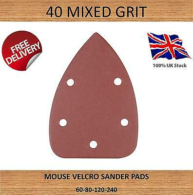 40x GRIT 140mm MOUSE SANDER PADS SANDING SHEETS DISCS MIXED 60 80 120 240