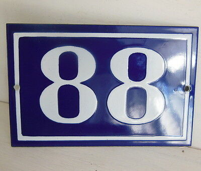 OLD FRENCH HOUSE NUMBER SIGN door gate PLATE PLAQUE Enamel steel metal 88 Blue