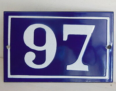 OLD FRENCH HOUSE NUMBER SIGN door gate PLATE PLAQUE Enamel steel metal 97 Blue