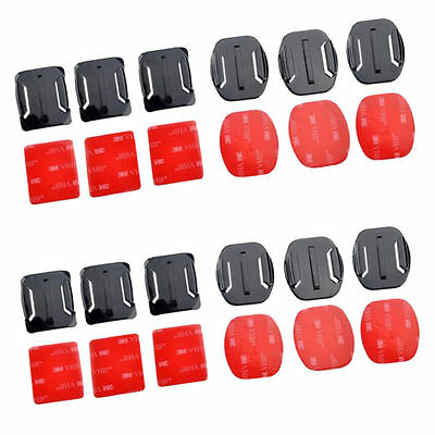 12pcs Helmet Accessories 3M Flat Curved Adhesive Mount For Gopro Hero 4 3+ 3 2 1