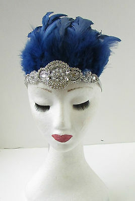 Navy Blue Light Cornflower Silver Feather Fascinator Sinamay Hair Races 6331