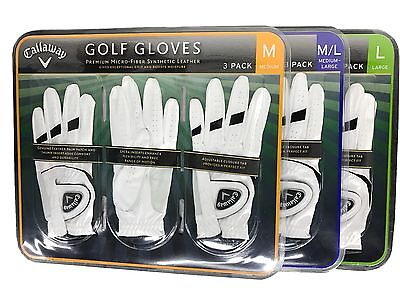 Callaway Golf Gloves Premium Micro-Fiber Synthetic Leather 3 Pack