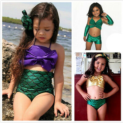 Kid Baby Girl Little Mermaid Bikini Set Swimwear Costume Swimsuit Bathing Suit G
