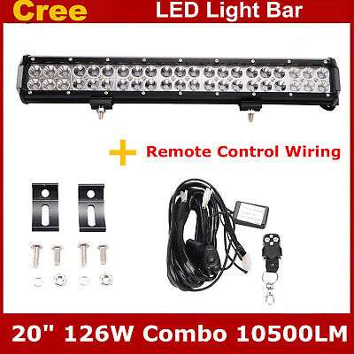 20inch 126W CREE LED Light bar combo beam with wiring kit / harness SUV Off-road