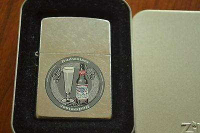 ZIPPO Lighter, Bud Bottle & Glass - 207AB.621, Brushed Chrome 2001, Sealed, M640