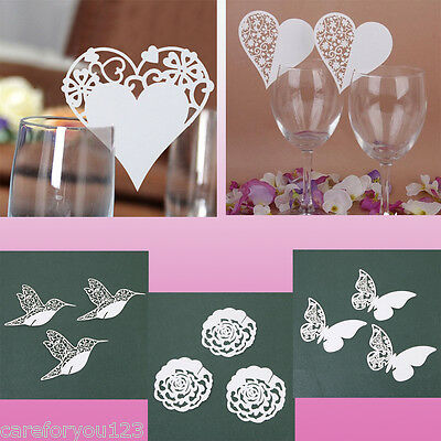 50 Pcs Place Name Card Wine Glass Wedding Cards Party Birthday Table Decor