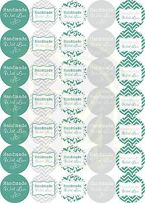 Handmade With Love Stickers 37mm Round Paper GREAT VALUE!