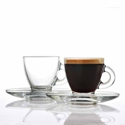 Ravenhead Glass Espresso Cups 8cl and Saucers Set of 2 Cups and 2 Saucers