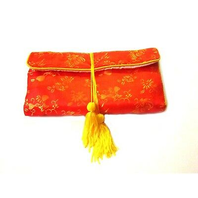 Chinese Silk Jewelry Pouches, Red