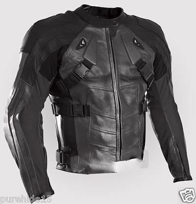 Deadpool Cowhide Leather Motorbike Racing Biker Jacket Ce Armoured - All Sizes