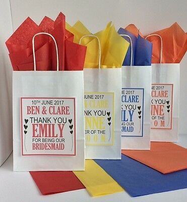 Personalised Wedding Favour Paper Gift Bag Thank You Party Hearts