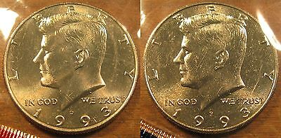 1993 P D Kennedy Half Dollar Coin Set of 2 Brilliant Uncirculated Mint Set Coins
