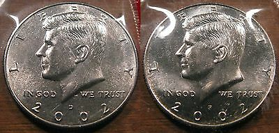 2002 P D Kennedy Half Dollar Coin Set 2 Brilliant Uncirculated Mint Set Coin's