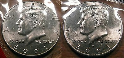 2001 P D Kennedy Half Dollar Coin Set 2 Brilliant Uncirculated Mint Set Coin's