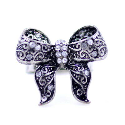 Adjustable vintage retro style antique silver bow ring with crystal