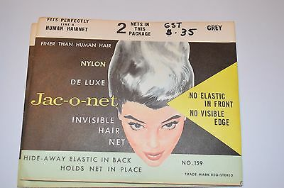 LOT OF 2 VINTAGE HAIR NETS Jac-o-net Nylon Deluxe Grey