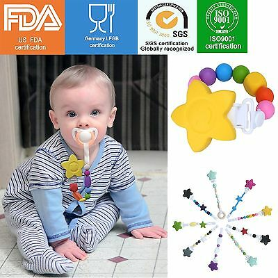 Petal Baby Infant Toddler Dummy Pacifier Soother Nipple Silicone Clip Holder