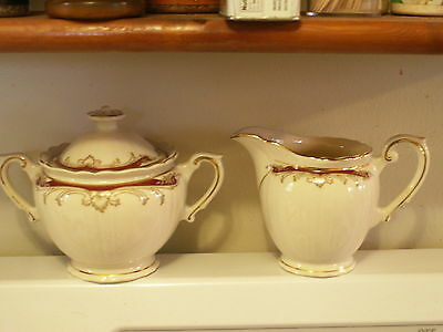 Radcliffe Syracuse China Sugar with Cover and Creamer Federal Shape