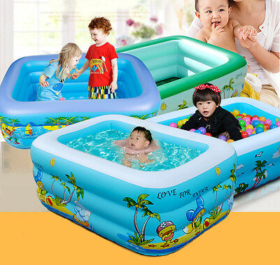 Giant New Kid Baby's Inflatable Cartoon PVC Paddling Swimming Pool,Blue Square