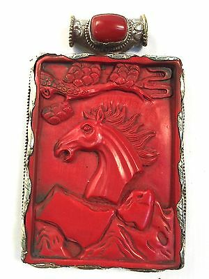 Tibetan Red Stone Hand Carved Horse Pendant Reversible Side Carved Snake