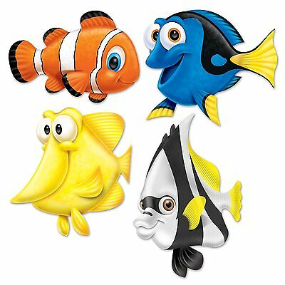 4 UNDER THE SEA Ocean Beistle Party Decorations TROPICAL FISH Nemo Dory CUTOUTS