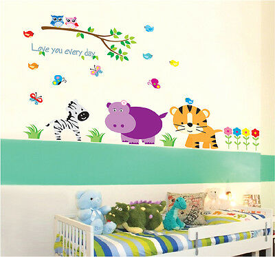 Wall stickers Safari Animals Owl Branch Removable Kids Vinyl Decal Nursery Decor