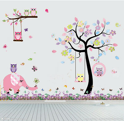 Owl elephant Flower Tree Butterfly Wall Stickers Decor Mural Decal Nursery baby