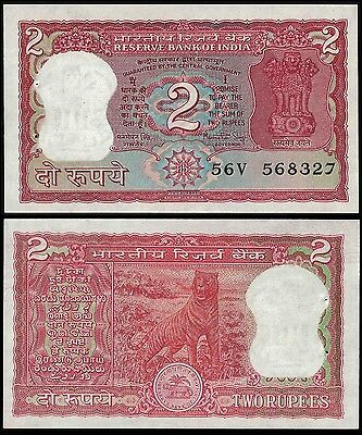 India 2 RUPEES Sign 83 NO Letter ND P 53Aa UNC
