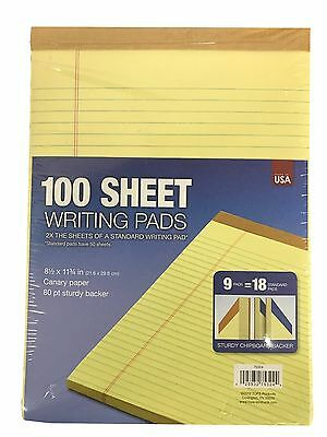 Tops 100 Sheet Writing Legal Pads Sturdy Chipboard Backer Canary 9 Pads