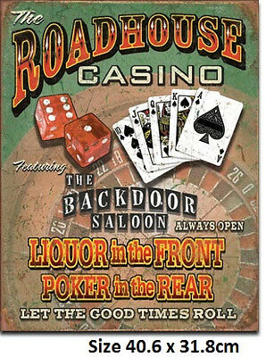 Roadhouse Bar & Casino Poker In The Font Liquor In Rear Tin Metal Sign 1685