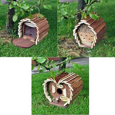 Hanging Wooden Insect Bee Hotel Bird House Nest Bug Ladybird Garden Keeping New