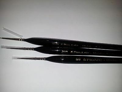 3 Extra Fine Detail Paint Brushes for Miniatures 10/0
