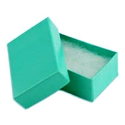 "100  Teal Cotton Filled Jewelry Gift Boxes 2 1/2"" x 1 1/2"" x 1"""