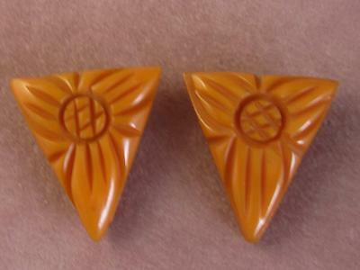 Pair Retro Carved Butterscotch Triangle Bakelite Dress Clips
