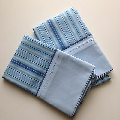 Vintage Springs Blue Stripe Standard Pillowcases Pair (2) Made in the USA