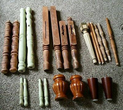 22 Vintage Bed Wood Pieces from Spindle Bed ** Various Sizes/Shapes + 4 Legs
