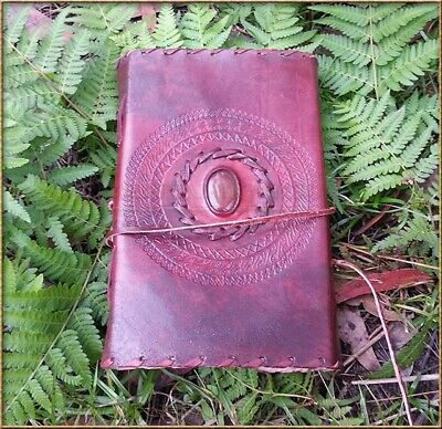 Handmade Cotton Paper Leather Journal Single Stone Cabachon  22cm x 14cm